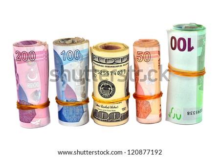 isolated Turkish Lira and dollar - stock photo