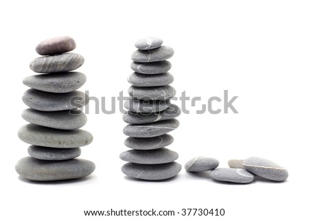 Isolated two pebble tower on white