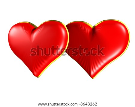 Isolated Two Red hearts with gold edging on white background