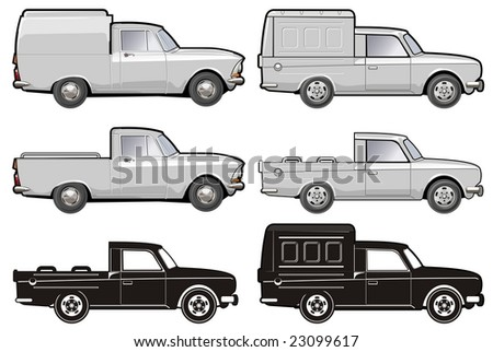 Isolated various car modifications. More car illustration see in my portfolio. - stock photo
