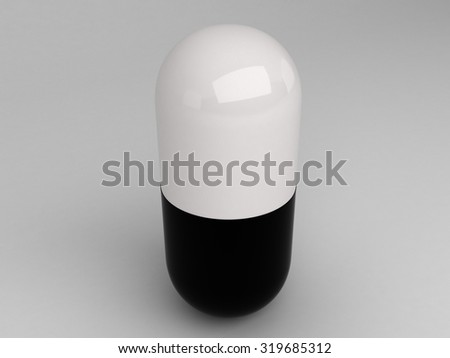 Isolated vertical black white pill - stock photo