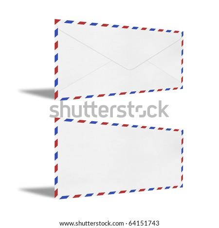 isolated Vintage Envelope on white. - stock photo
