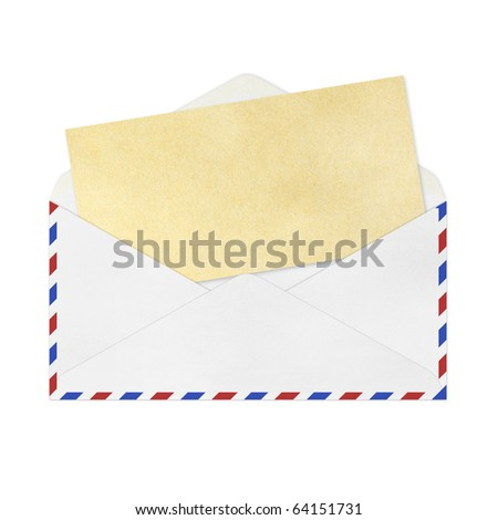 isolated Vintage Envelope with blank Brown  paper on white. - stock photo
