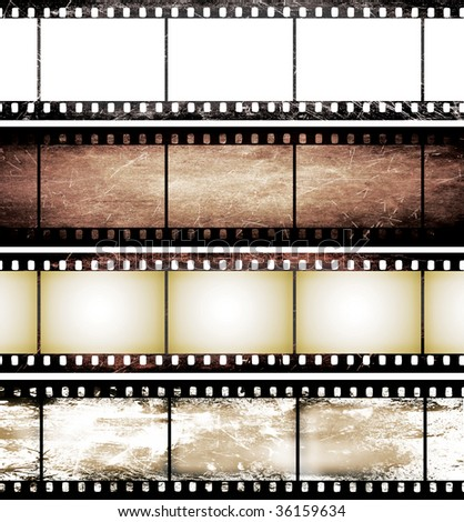 isolated vintage film frame collection - stock photo