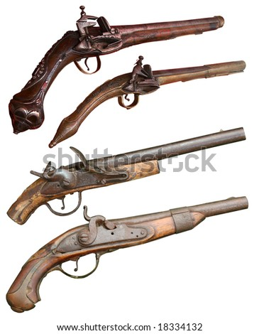 Isolated vintage firearm pistols of XVII-XIX centuries