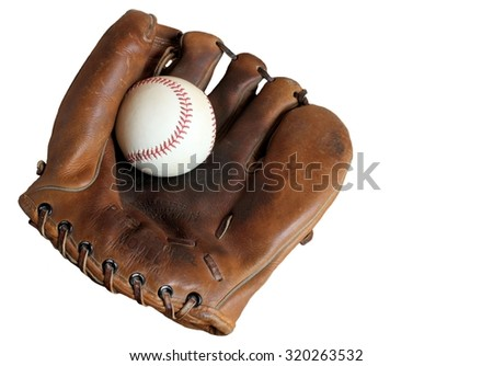 Isolated Vintage Leather Baseball Glove and Baseball