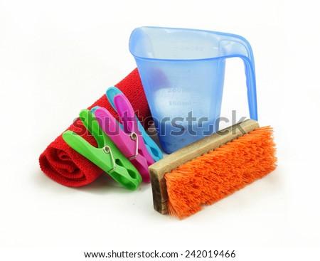 Isolated Washing, Cleaning, Laundry set - stock photo