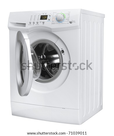 Isolated washing machine on a white background - stock photo