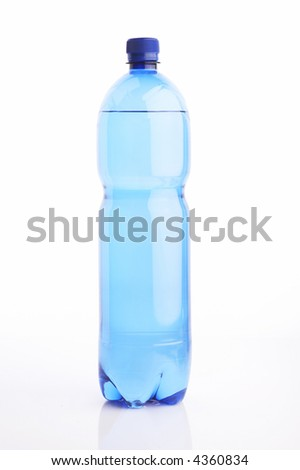 Isolated water bottle on white reflective background with clipping path