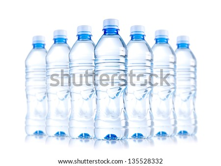 isolated water bottles - stock photo