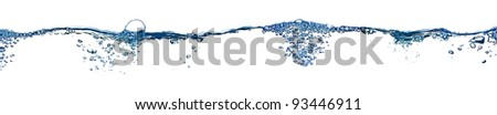Isolated water splashing panorama with bubbles and water drops - abstract background environmental theme - stock photo