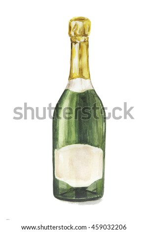Isolated watercolor champagne bottle on white background. Alcohol bottle for decoration of menu, cafe, restaurant.
