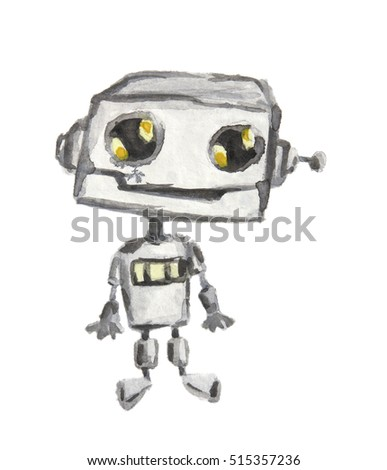 Isolated watercolor robot on white background. New technology. Funny character.