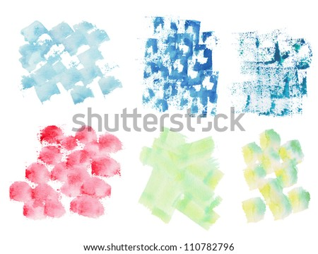 Isolated watercolor splatters set, design element