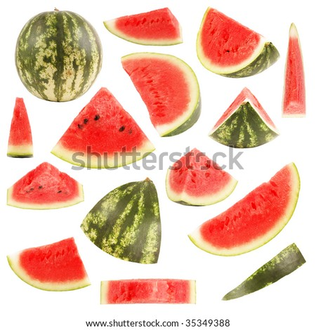 Isolated watermelon collection - stock photo