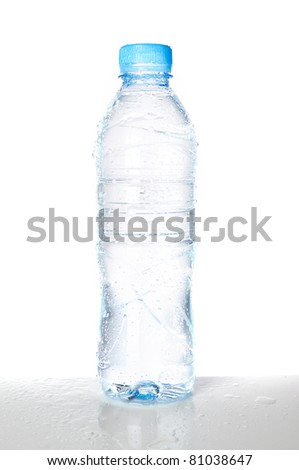 Isolated wet plastic water bottle