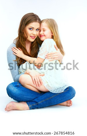 Isolated white background woman mother with child. - stock photo