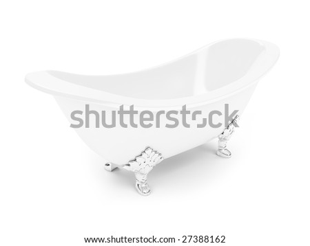 isolated white bath against white background
