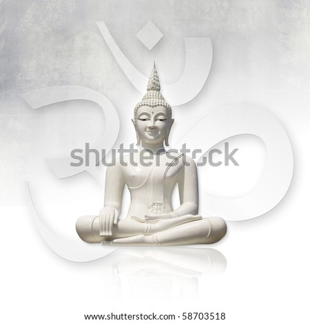 Isolated white buddha (incl. clipping path), OM sign in background - stock photo