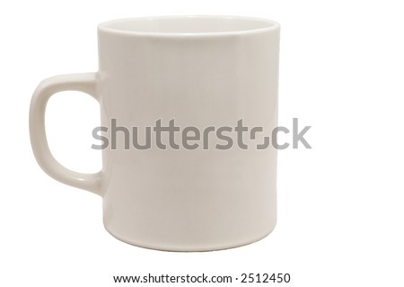 Isolated white ceramic mug - no background - stock photo