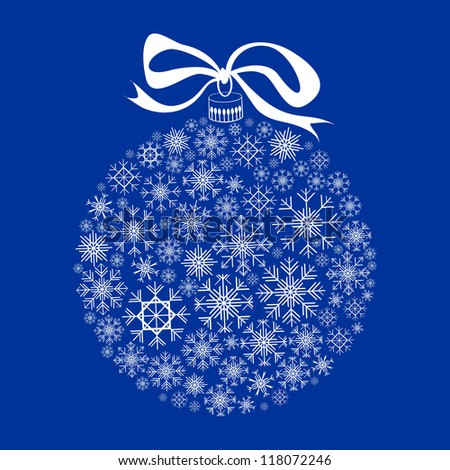 Isolated White Christmas Ball Silhouette on Blue Background, Raster Clip-Art Illustration - stock photo