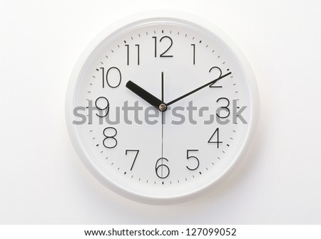 isolated white clock - stock photo