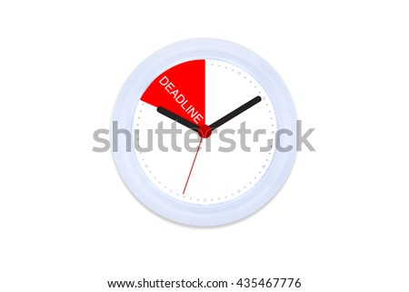 Isolated White Clock Black and Red hand with Creative Concept Deadlines on White Background /Work Life Balance Integrated for Success / Rush Hour/ Managing Time Before Deadlines /Hurry Up /Time Up - stock photo