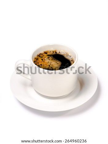 isolated white cup of coffee with foam. - stock photo