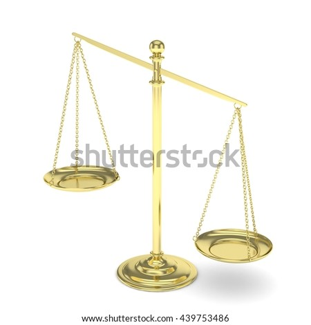 Isolated white golden scales on white background. Symbol of judgement. Law, measurement, liberty in one concept. 3D rendering. - stock photo