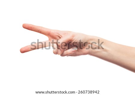 Isolated white hand showing two fingers - stock photo