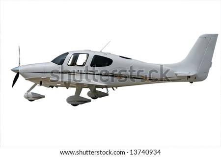 isolated white propeller plane with clipping path - stock photo