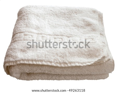 isolated white towel - stock photo
