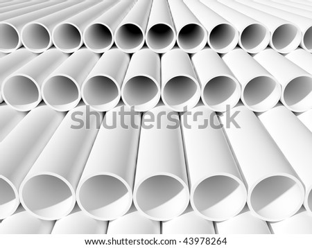 isolated white tubes - stock photo