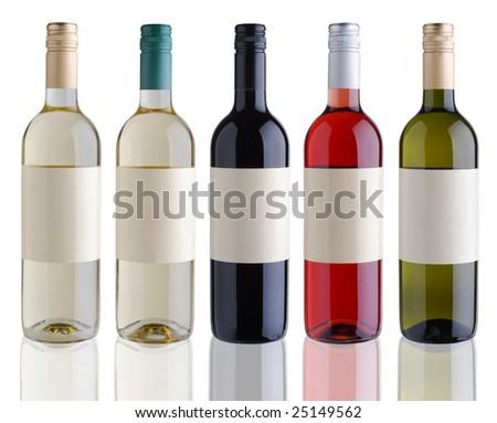 Isolated wine bottles - stock photo