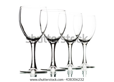Isolated wine glasses on white