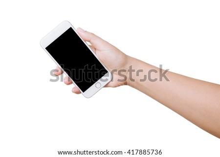 isolated woman hand hold smart phone on white background - stock photo