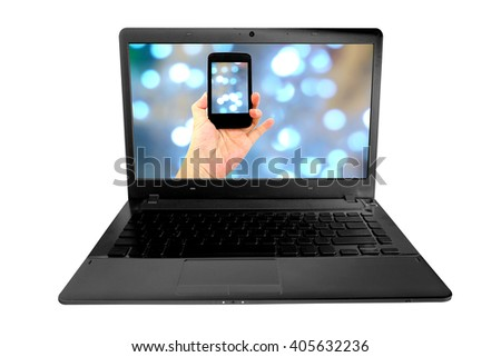 isolated woman hand holding the phone on screen laptop - stock photo