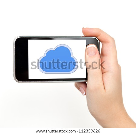 isolated woman hand holding the phone tablet touch computer gadget with the image of clouds - stock photo