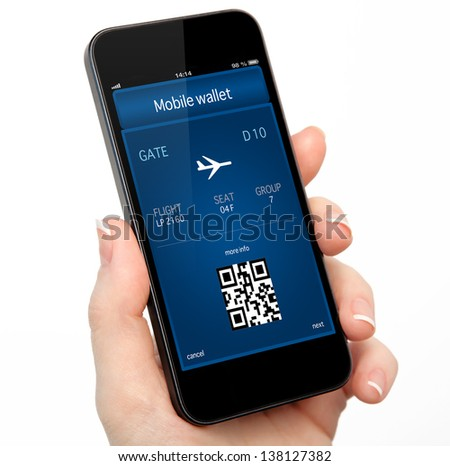 isolated woman hand holding the phone touch with a mobile wallet and plane ticket - stock photo