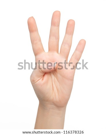 isolated woman hand shows the number four - stock photo