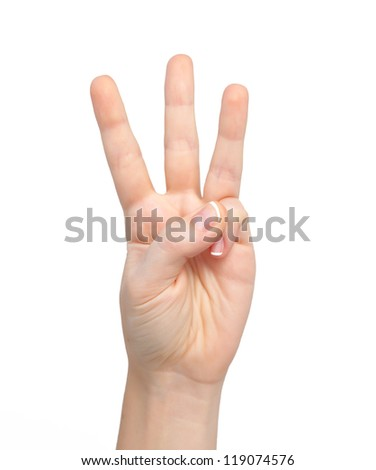 isolated woman hand shows the number three - stock photo