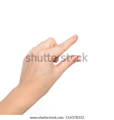 isolated woman hand shows the pinch to zoom or holding the object - stock photo