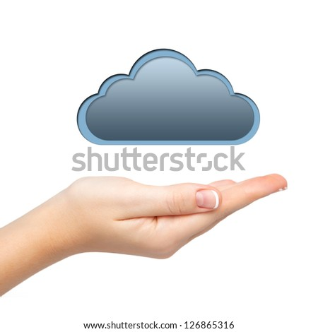 isolated woman's hand holding a cloud connect computers - stock photo