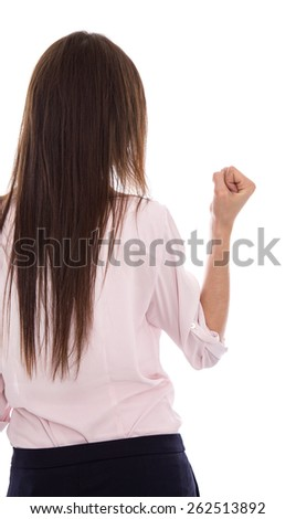 Isolated woman with long hear raising up her fist. Symbol for success and career. - stock photo