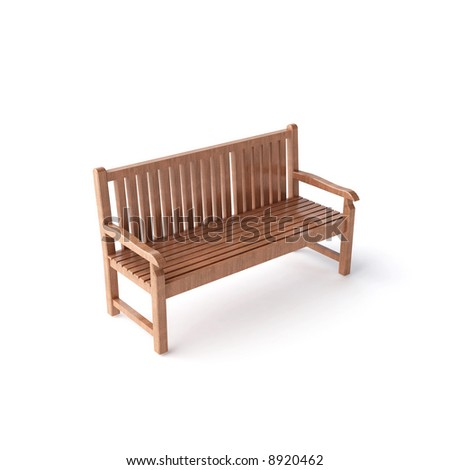 isolated wood bench - stock photo