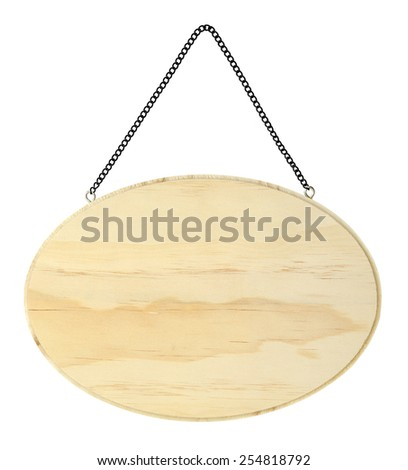 isolated wood panel with black metal chain - stock photo