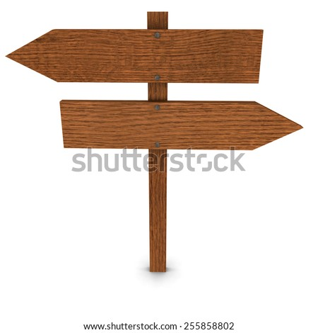 Isolated Wooden Arrow Signs - stock photo