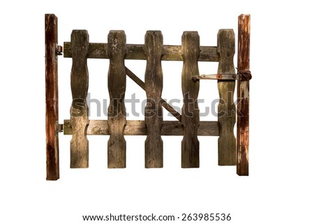 Isolated Wooden Gate - stock photo