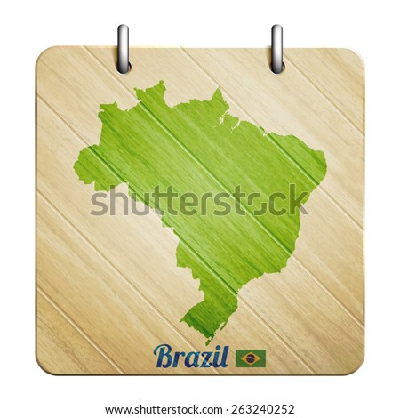 isolated wooden icon with brazil map and flag - stock photo