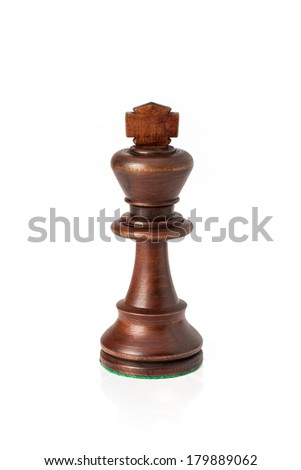 Isolated wooden king chess